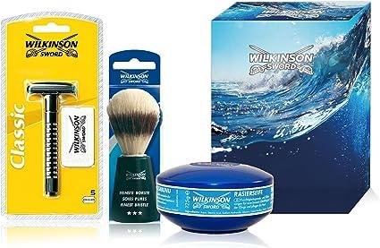 Wilkinson Sword Classic Pack Vintage - Kit de Afeitado Clásico con Máquina Classic y 5 cuchillas cromadas + Brocha de Afeitar de cerda suave + Jabonera con 125 gr de jabón de afeitado: Amazon.es: Belleza