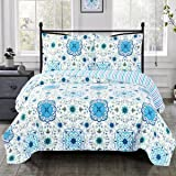 Arielle Blue California King Size, Over-Sized Quilt 3pc set, Luxury Microfiber Printed Coverlet by sheetsnthings