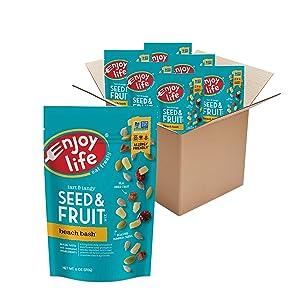 Enjoy Life Seed & Fruit Mix, Peanut Free Trail Mix, Soy Free, Nut Free, Gluten Free, Dairy Free, Non GMO, Vegan Snack Mix, Beach Bash, 6 - 6 oz Packs