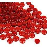 CYS EXCEL Red Glass Gemstone Beads Vase Fillers (Pack of 1 LB, Approx. 100 PCS)   Multiple Color Choices Flat Marble…