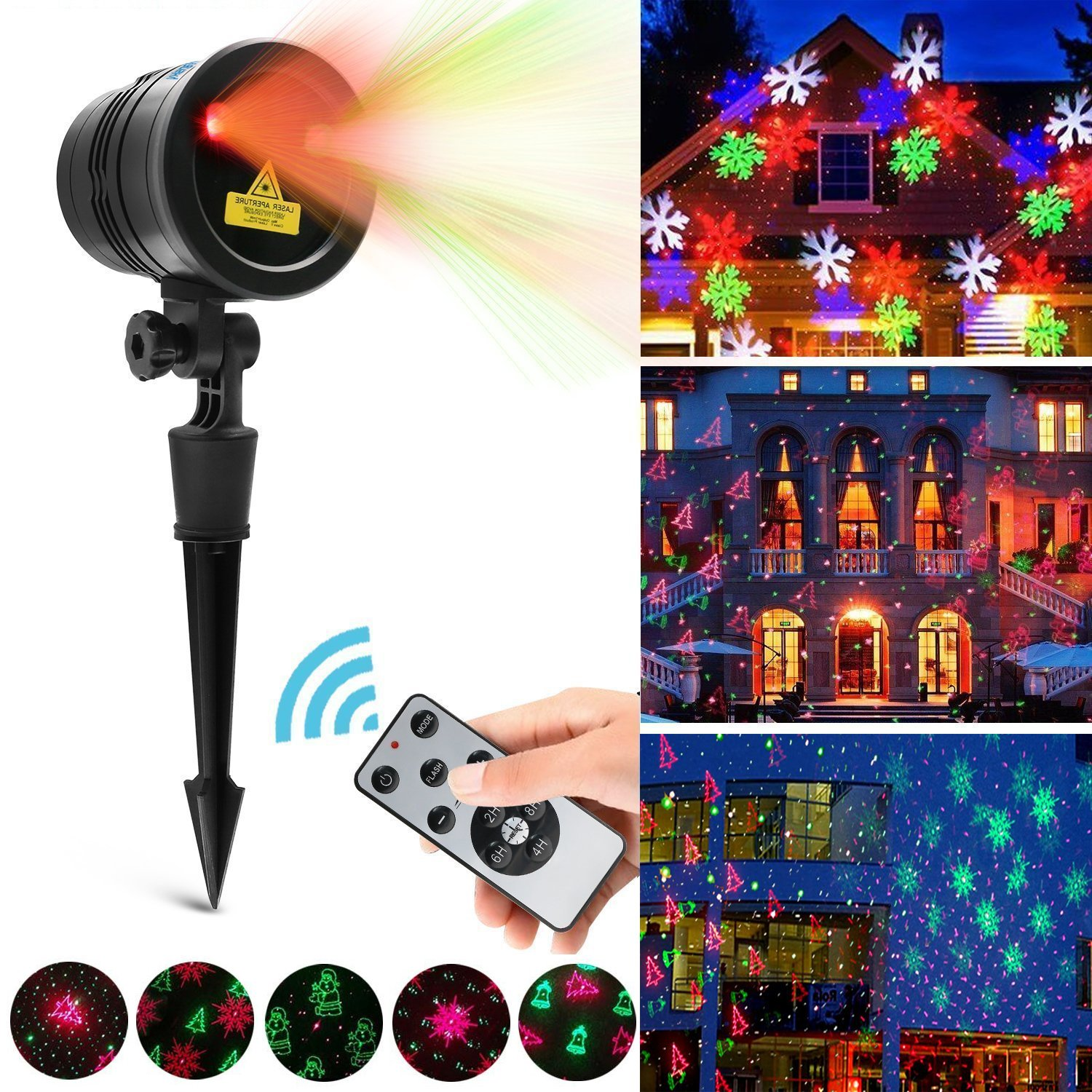christmas decorations led laser light indoor outdoor projector lights with remote control waterproof 4