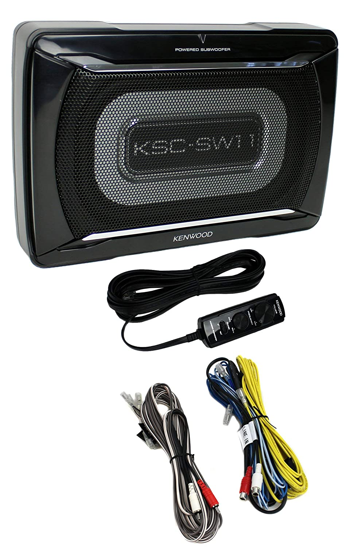 Kenwood Ksc Sw11 150w Low Profile Amplified Car Subwoofer Wiring Enclosure Amp Kit Electronics