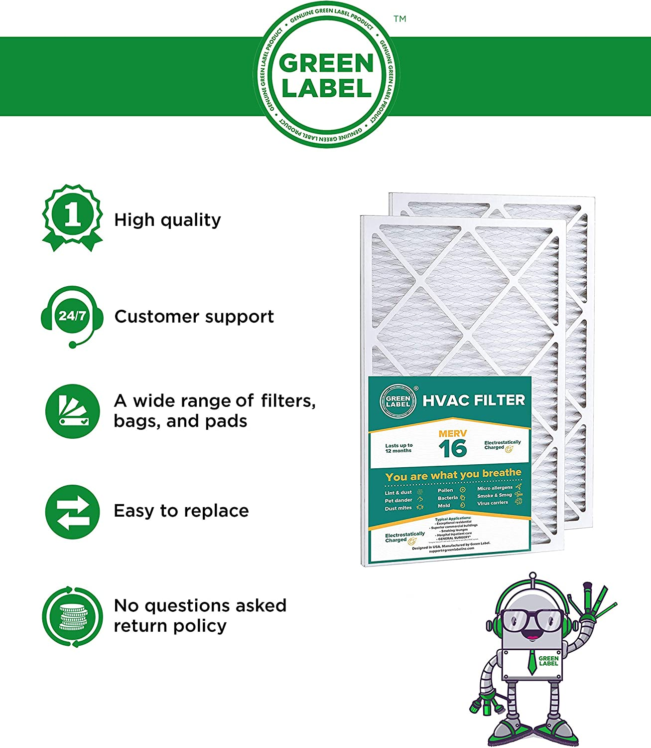 AC Furnace Air Ultra Cleaning Filter MERV 16 Pack of 2 Green Label HVAC Air Filter 16x25x1