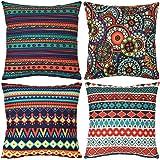 Wionee - Juego de 4 fundas de almohada decorativas para exteriores, estilo bohemio, para sofá, cama, 45,7 x 45,7 cm