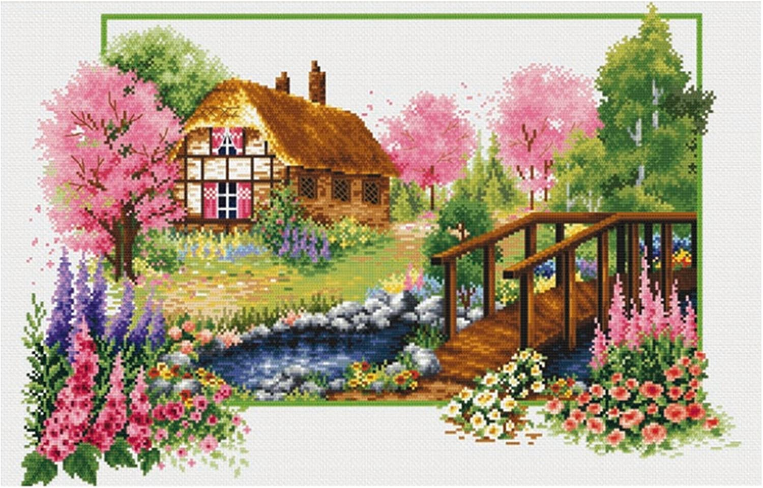 TINMI ATRS DIY Stamped Cross Stitch Landscape Kits Thread Needlework Embroidery Printed Pattern 11CT Home Decoration Four Seasons Autumn Story, 27x19