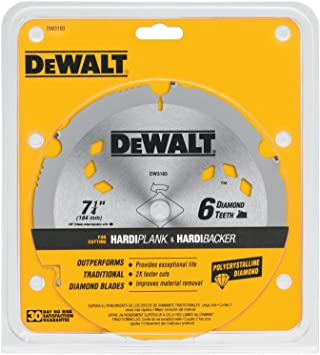Dewalt Dw3193 7 1 4 Inch 6 Tooth Pcd Diamond Fiber Cement Saw Blade With 5 8 Inch And Knockout Arbor Amazon Ca Tools Home Improvement