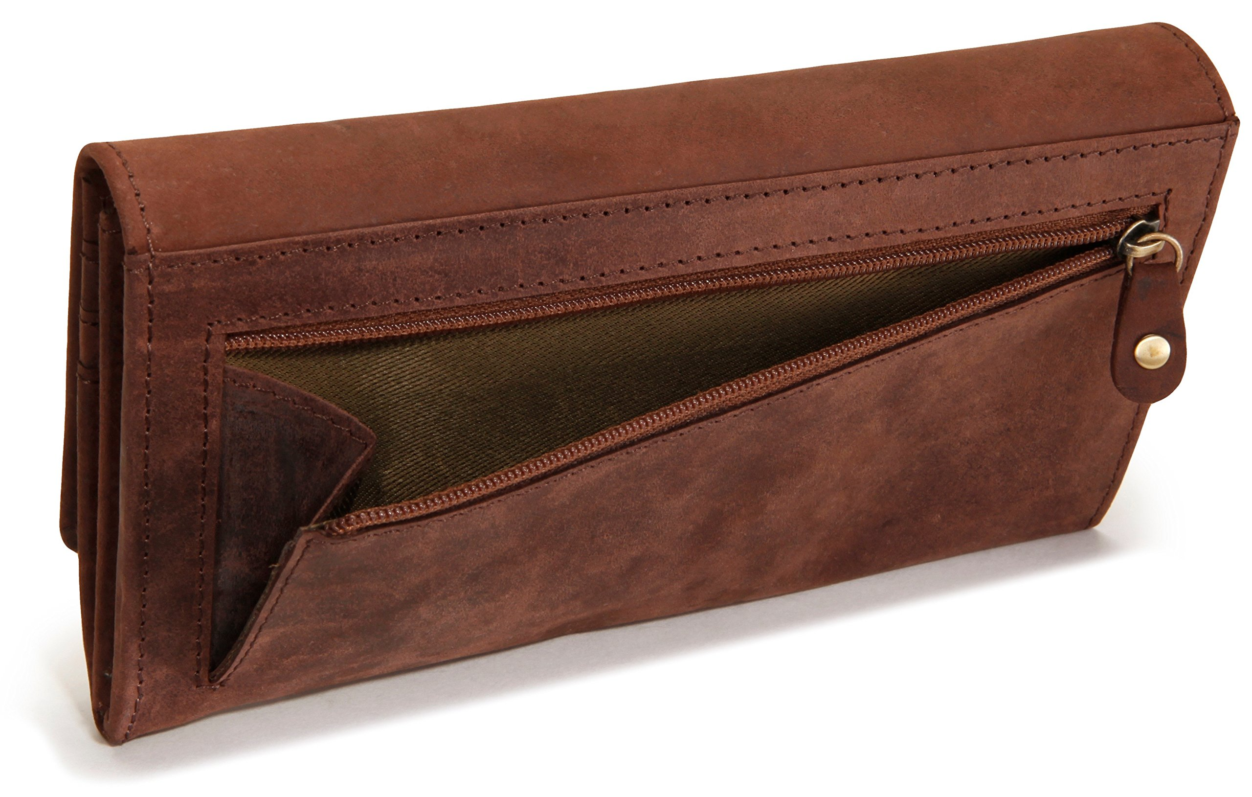 LEABAGS Charlotte genuine buffalo leather women's wallet in vintage style - Nutmeg by LEABAGS (Image #4)