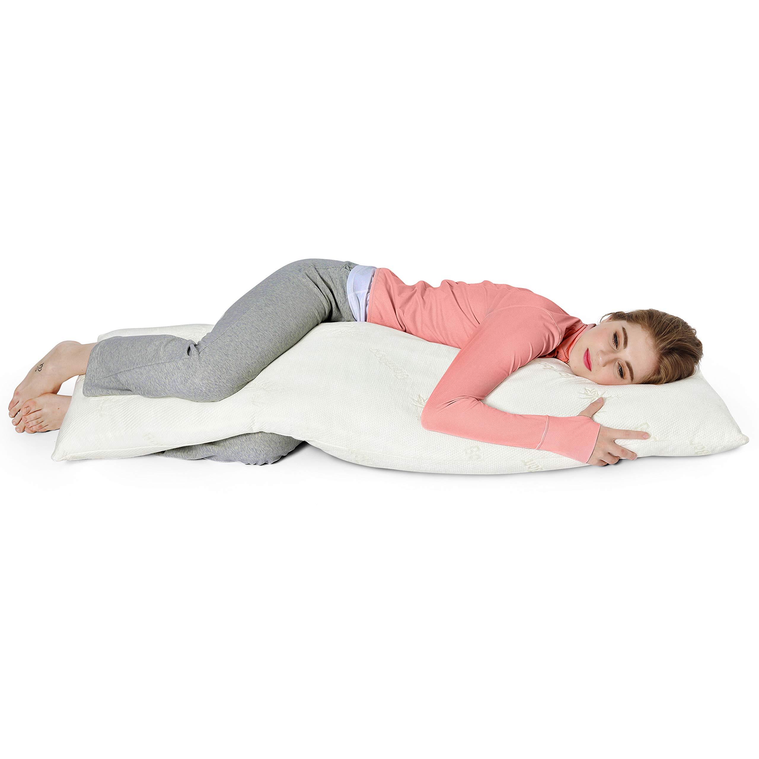 AmazingDreams Full Body Pillow - Side Sleeper Pillow and Pregnancy Pillow with Washable Bamboo Cover by Amazing Dreams (Image #2)
