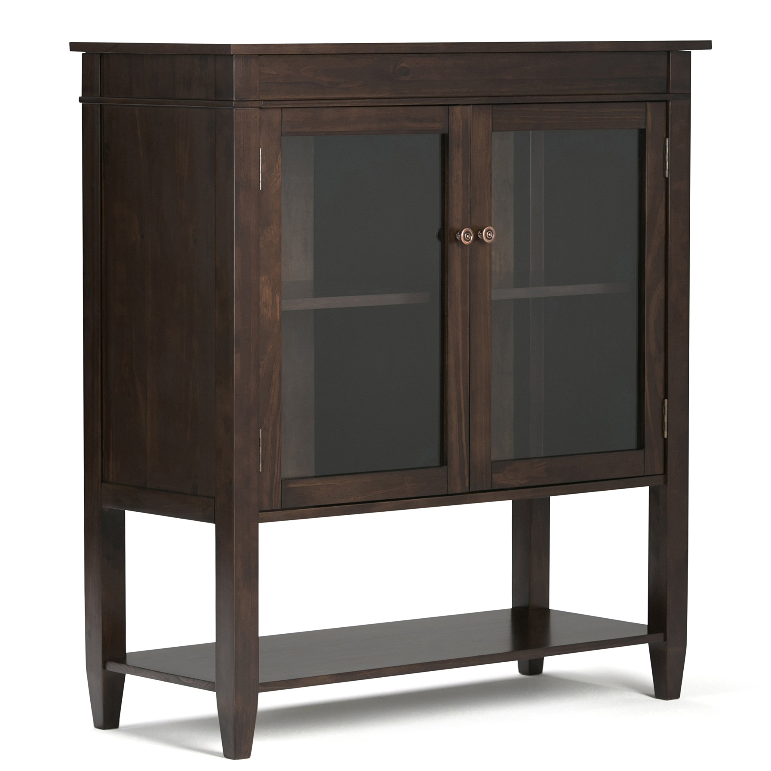 Simpli Home Carlton Medium Storage Cabinet, Dark Tobacco Brown