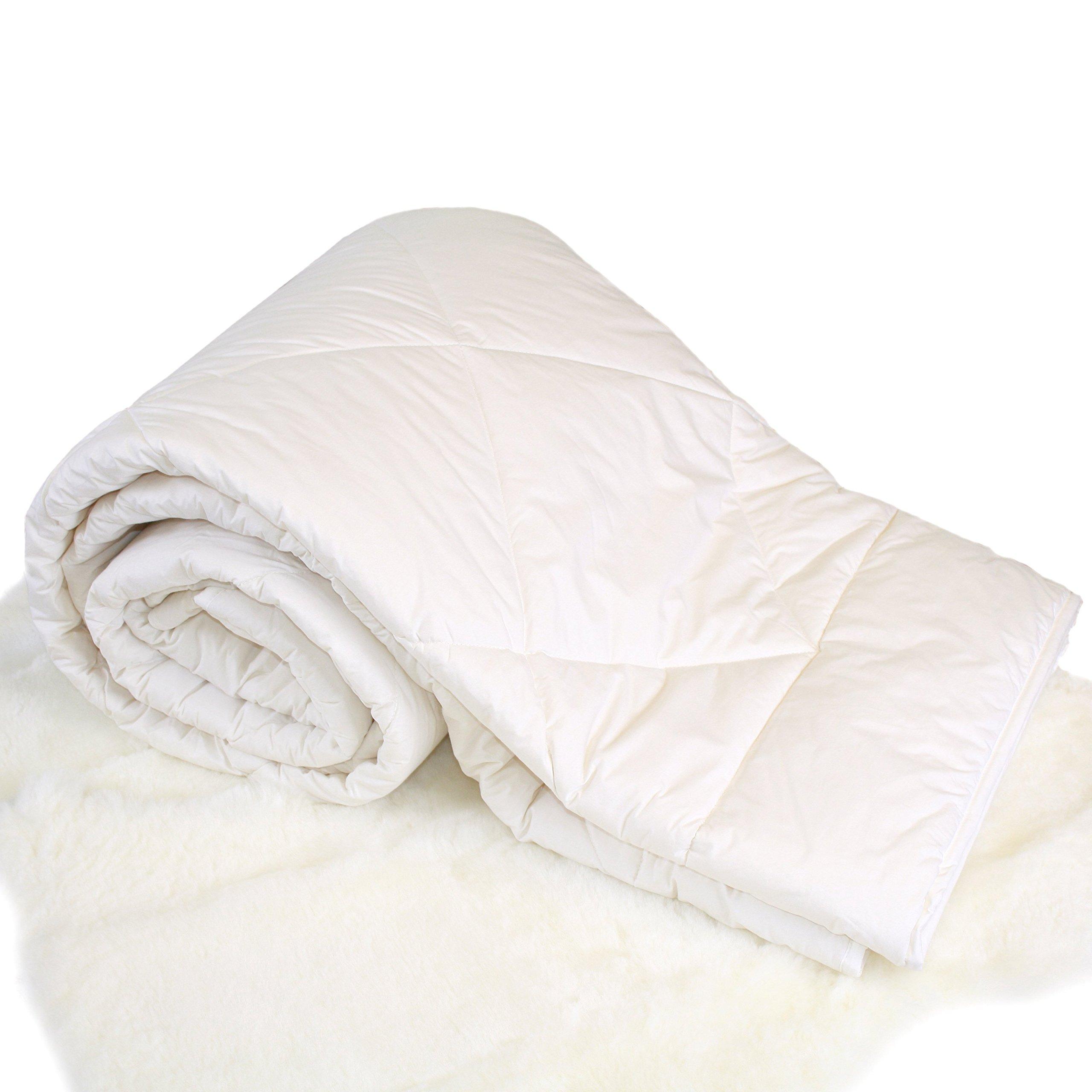 Woolino Premium Australian Washable Wool Comforter, Mid-Weight Crib Wool Duvet Quilt Kids Blanket, Crib/Toddler Bed Size 37''x51'' by Woolino
