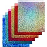 "TECKWRAP Shining Laser Heat Transfer Vinyl Sheets for T-Shirts and cricut Iron On Vinyl 12""x10"" 6 Sheets (Red HTV)"
