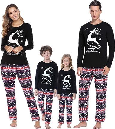 Christmas Family Pajamas Set Mom Dad Baby Newborn Baby Romper Christmas Reindeer Sleepwear Two Piece Cotton Long Sleeve T-Shirt And Pants