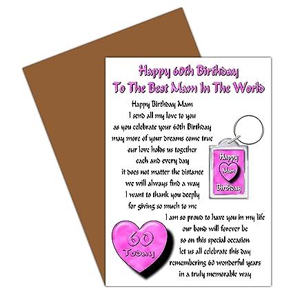Mamá 60th tarjeta del feliz cumpleaños con regalo anillo ...