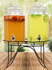 Estilo Hammered Glass Double Beverage Drink Dispenser On Stand With Leak Free Spigot, 1 Gallon Each
