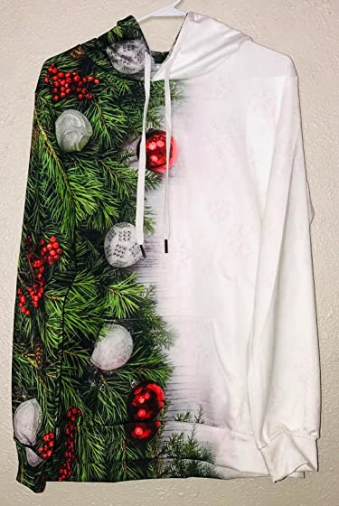 Cfanny Couple Cute 3D Santa Print Ugly Christmas Kangaroo Pocket Sweatshirt Hoodies Pullover Something Different for Christmas