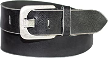 Eg-Fashion Herren Jeansgürtel 5 cm Breite 100% Büffelleder Herren Gürtel mit stylischer Flachdorn-Schnalle im Used Look