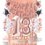 13th Birthday Decorations Photo Props Birthday Party Supplies 13 Cake Topper Rose Gold Happy Birthday Banner Confetti Balloon
