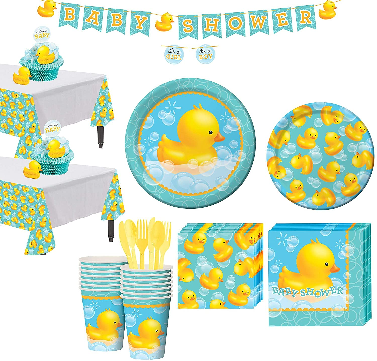 Amazon.com: Party City Rubber Ducky Baby Shower Tableware Kit for 16  Guests, Includes 2 Table Covers, Table Centerpiece and Banner: Kitchen &  Dining