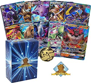 10 Random Pokemon Cards - 10 GX Ultra Rare Cards, with No Duplication + 1 Random Collectible Pokemon Coin - Includes Golden Groundhog Deck Storage Box