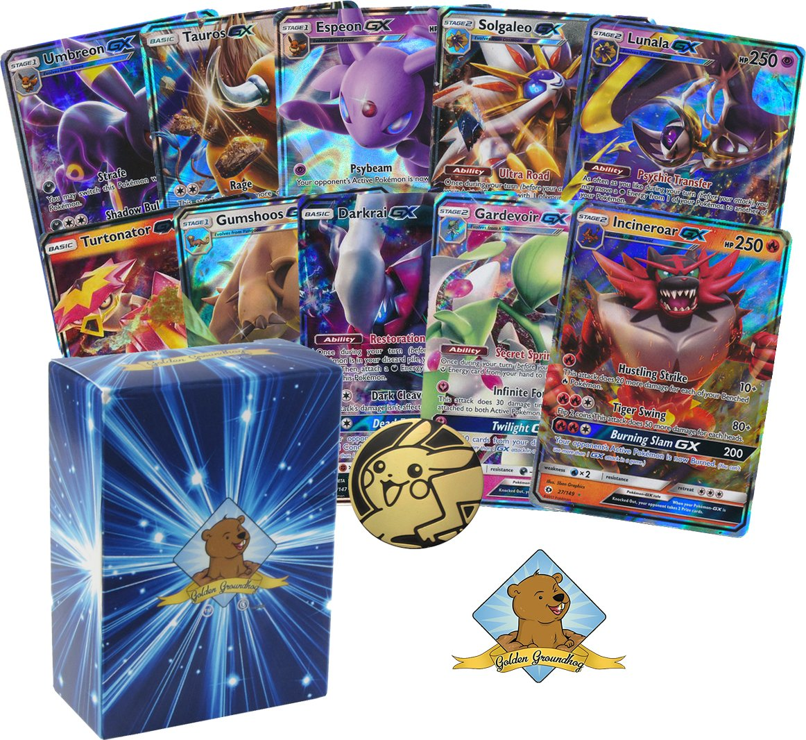 10 Pokemon Card Lot of ALL GX ULTRA RARES!!! No Duplication! Includes Golden Groundhog Box!