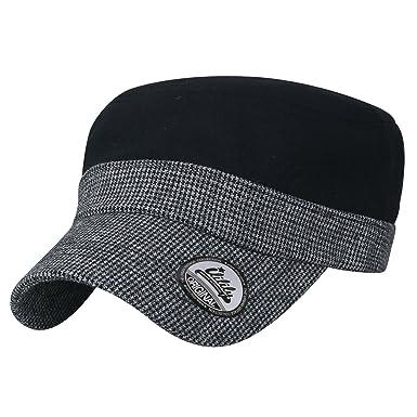 053030727ef ililily Houndstooth Brim Military Army Hat Wool-Blend Vintage Cadet ...