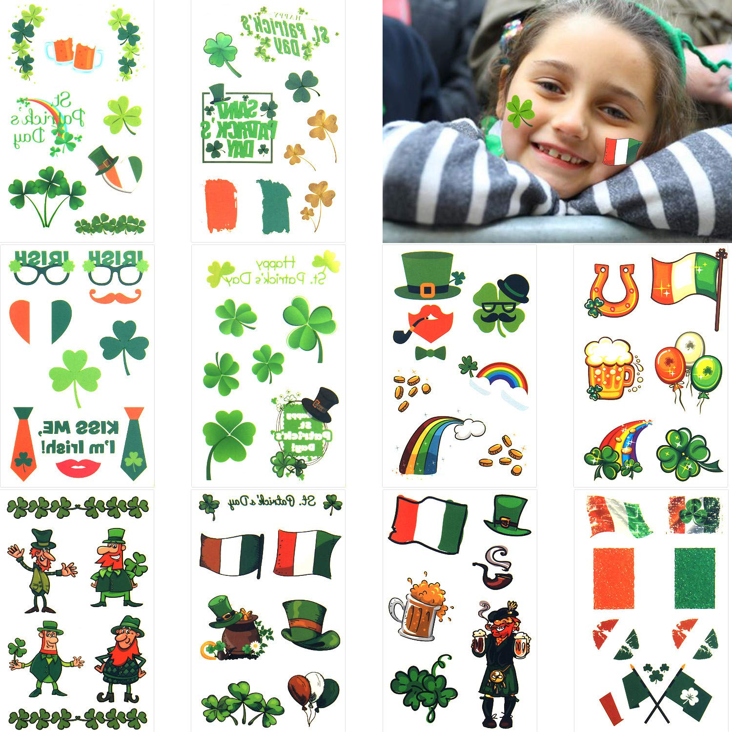 St. Patrick's Day Stickers – 10 Sheets St. Patrick's Day Tattoos Shamrock Temporary Tattoos Stickers Shamrock Stickers for Kids Party Decoration