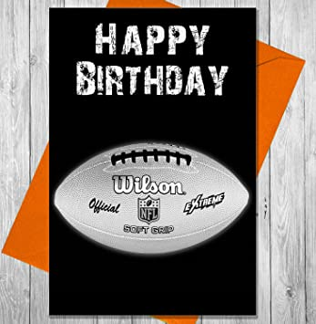 Balón de fútbol americano NFL tarjeta de cumpleaños - Único pizarra efecto tarjeta de felicitación: Amazon.es: Hogar