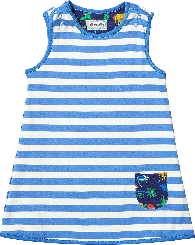Piccalilly Girls Reversible Jersey Dress Organic Cotton Navy Blue Safari Animal