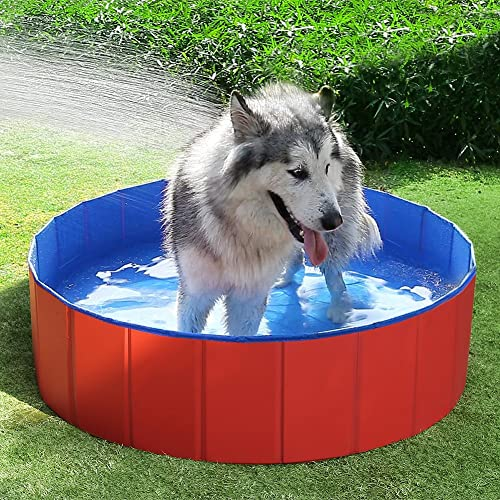 Fuloon Foldable Dog Paddling Pool Puppy Cats Swimming Bathing Tub Pet Children Kid Ball Water Ponds