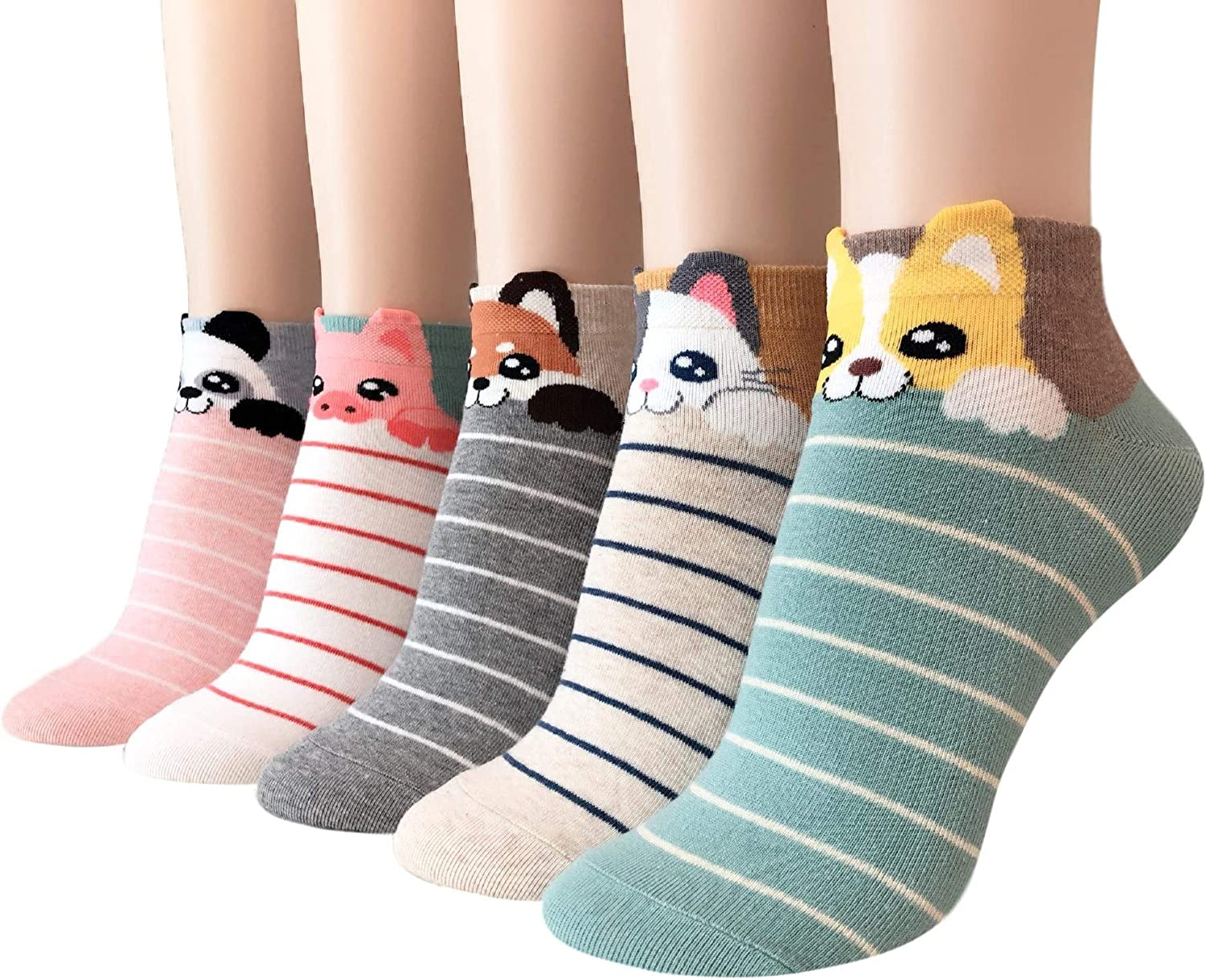 GotYourToes   Womens Teen Girls   Cute Cat Dog Panda Animal Print   Ankle Socks   Great Gifts   5 Pairs (Bedtime Animals): Clothing