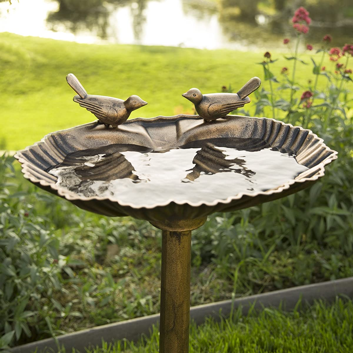 Best Choice Products Pedestal Bird Bath w/Scroll Accent, Sitting Pair of Birds - Antique Gold