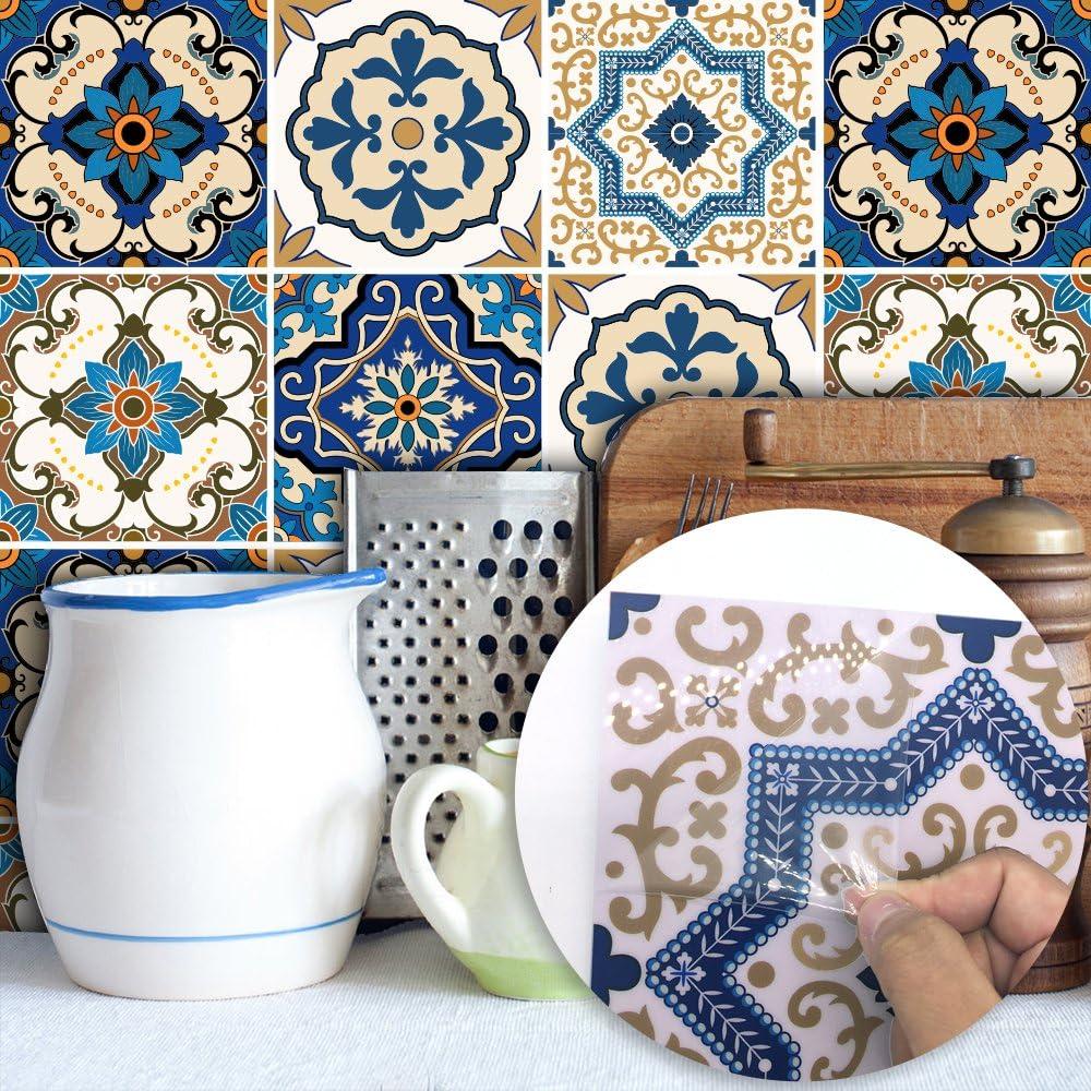 Amazon Hyfanstr はがせる壁紙 モロッコタイル柄 簡単 Diy デコシール 装飾 防水ウォールステッカー 20cmx20cm 10 枚入り 壁紙