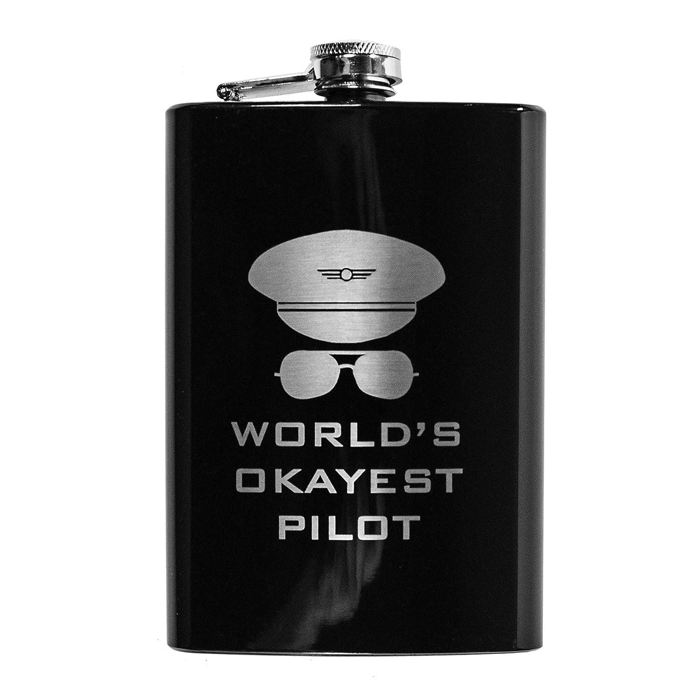 8ozブラックWorld 's Okayestパイロットフラスコl1   B01M0SN11U