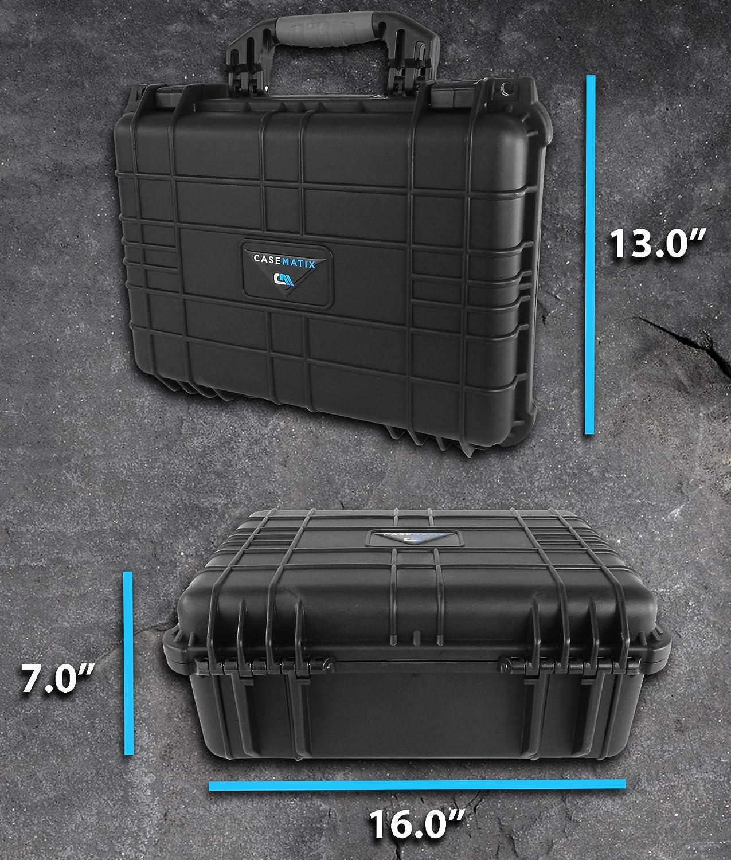 "STUDIOSAFE XLP 16"" Waterproof Studio Equipment Microphone Travel Case - Fits Shure Motiv MV5 USB Condenser Mic w/ stand and MV51 , Mvi Audio Interface , MV88 , MVL , Pop Filters , IOS Cable and More"