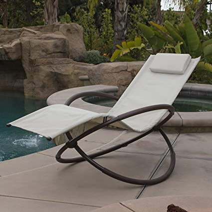 Exceptionnel Belleze Orbital Lounger Chair Garden Patio Portable Pool Beach Outdoor  Foldable (Beige)