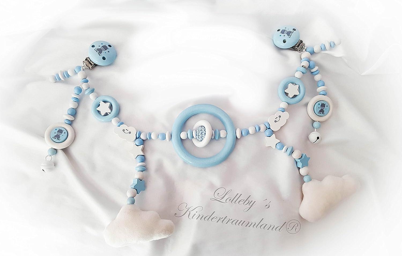 KOMPLETT SET  Kinderwagen-, Schnullerkette & Greifling - Weiãÿ Hellblau, Wolken - Kinderwagenkette für Jungen mit Wunschnamen - Geschenk zur Taufe, Geburt (KOMPLETT SET  Kinderwagen-, Schnullerkette & Greifling - Weiß, Hellblau, Wolken -)