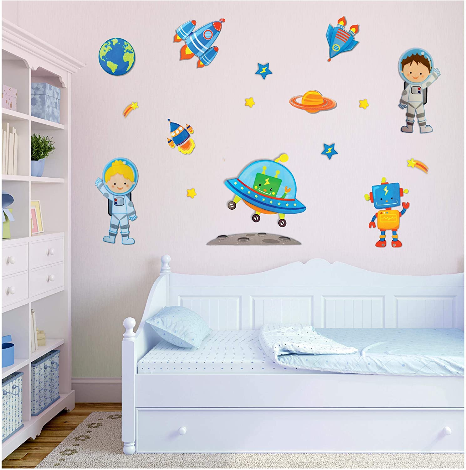 Amazon Com Space Astronaut Airplane Stickers 3d Wall Decals For Boys Bedroom Decor Set Of 10 Easy To Stick Removable Peel And Stick Kitchen Dining