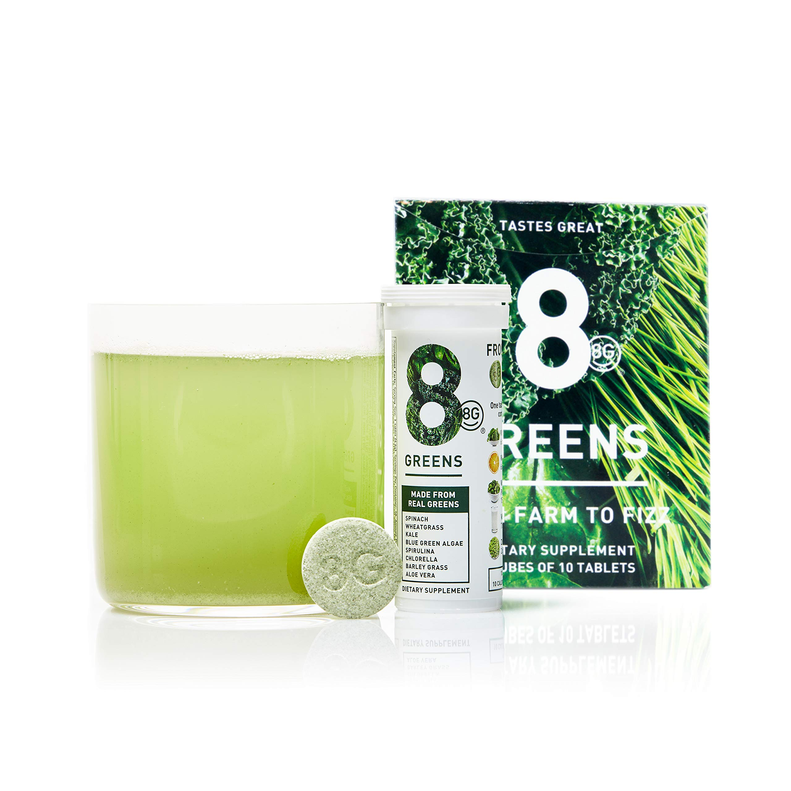 8Greens Effervescent Super Greens Dietary Supplement - 8 Essential Healthy Real Greens in One (6 Tubes / 60 Tablets) by 8Greens