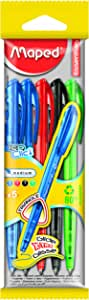 Maped Ice Clic Retractable Ballpoint Pens, Assorted Colors, Pack of 5 (225305)