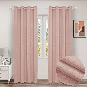 MINGSHIRE Blush Pink Herringbone Texture Cashmere Feeling Curtains, Grommets Top Light Filtering Panels for Teen Girls Room Decor, 52