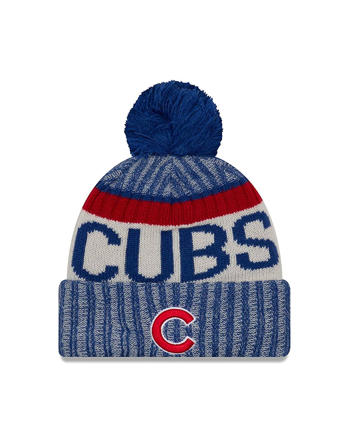 Amazon.com   New Era Chicago Cubs MLB NE17 Sport Knit Hat with Pom   Sports    Outdoors d6d98eff97b