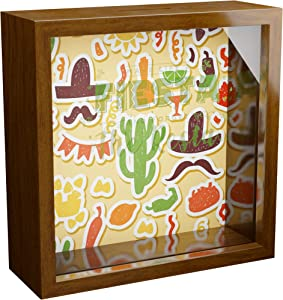 Mexican Gifts | 6x6x2 Memorabilia Shadow Box with Glass Front | Mexico Decorations for Wall or Tabletop | Wooden Memory Box for Latin Decor | Great to Collect Special Mexican Items