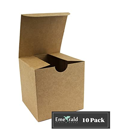 Premium Kraft Gift Boxes Eco Favor Cardboard Box With Lid Pack Of 10 3 X 3 X 3