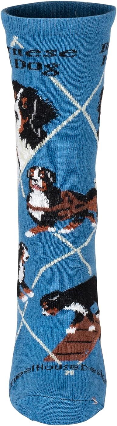 Bernese Mountain Dog on Blue Lightweight Stretch Cotton Crew Sock