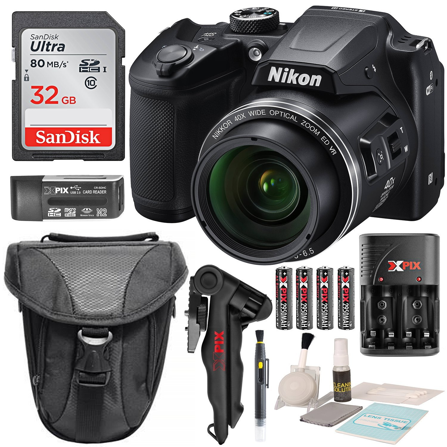 Nikon COOLPIX B500 Digital Camera along with 32GB SDHC Memory Card and Deluxe Accessory Bundle with Cleaning Kit by Nikon