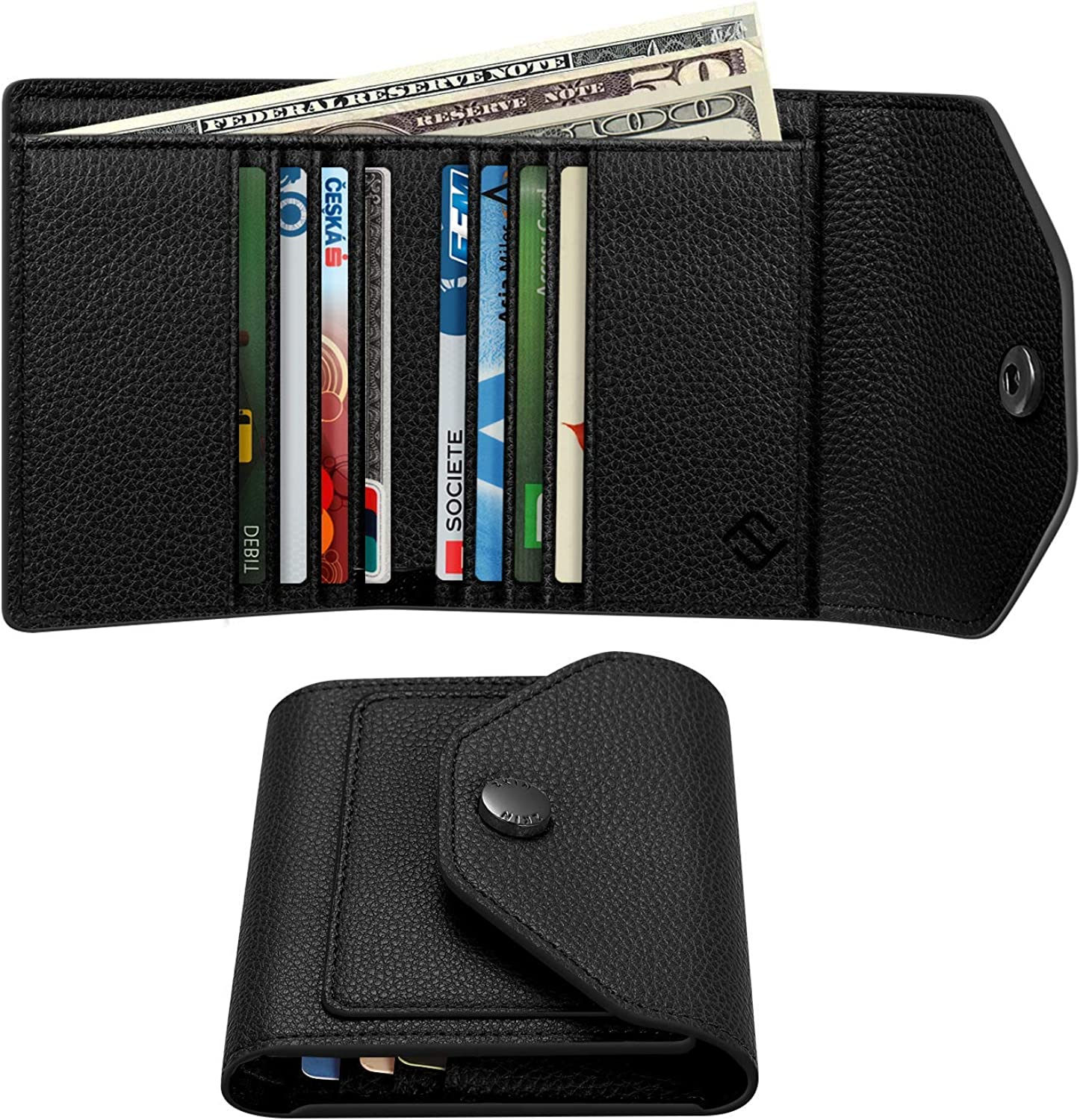 Small Leather Wallet for Women RFID Blocking Credit Card Holder Mini PocketPurse