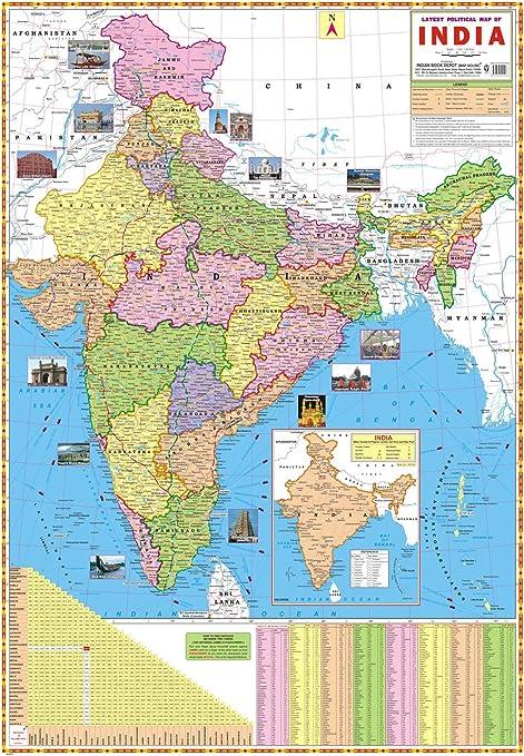 IBD última mapa político de la India preescolar de doble cara laminado gráfico Mural, color Multi (Latest Political Map Of India Charts) 28 x 40 Inches: Amazon.es: Oficina y papelería