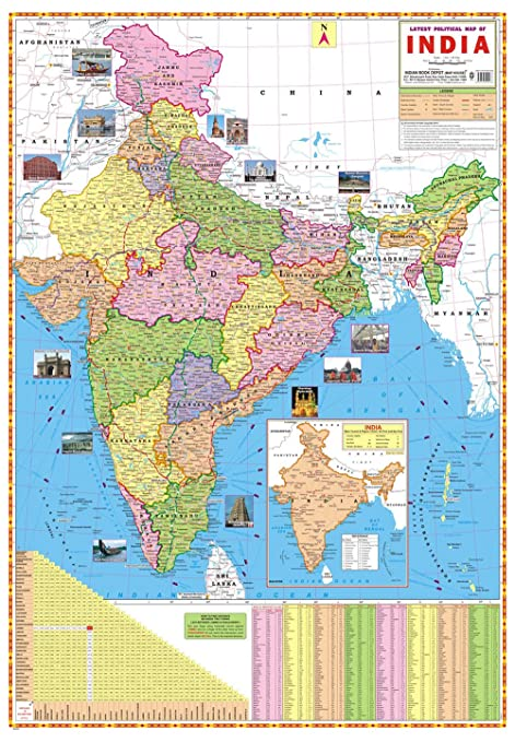 Latest India Map.Amazon Com Ibd Latest Political Map Of India Pre School Double