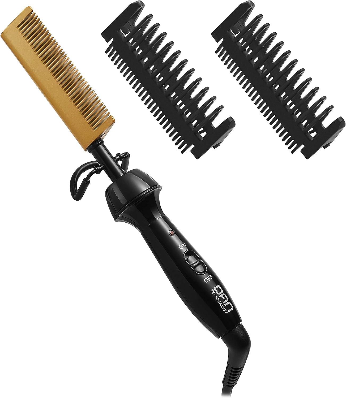 DAN Technology Ceramic Hot Comb, Anti-Scald Beard Straightener Press Comb 450℉ High Heat, Dual Voltage Electric Comb Hair Straightener for Women and Men