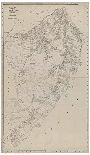 Old Map Of New York.Staten Island New York 1920 Old Map Reprint
